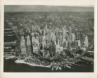 New York City skyscrapers aerial view amazing antique Manhattan photo