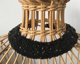 Unusual, Vintage, Black and Gold Beaded Collar/Necklace - 1980's