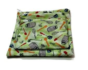 Reusable Sandwich Snack Bags Set of 3 Zipper Green Kitchen Utensils