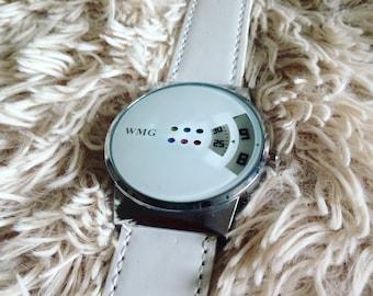 Modern White Multicolored Dot Watch