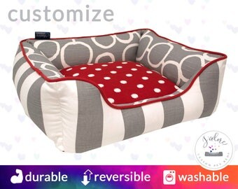 Red & Gray Dog Bed or Cat Bed | Chevron, Stripe, Polka Dot, Modern |  Select Your Fabrics or Design You Own
