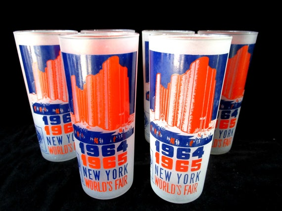 Set of 6 New York Worlds Fair Barware, 1964, 1965. Hall of Science, Orange and Blue
