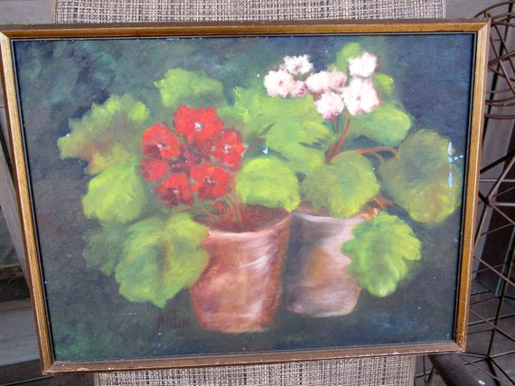 Vintage Oil Painting, Geraniums in Clay Pots, Red and White Flowers, Old Frame, Modern Farmhouse Cottage Decor