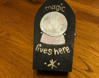 Coffin Box Painted Magic Lives Here Crystal Ball