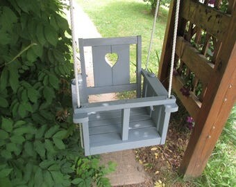 Child's oak wood painted  porch swing (winter gray)