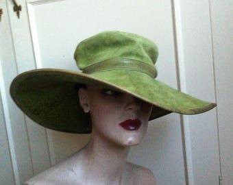 "Fabulous Suede leather BRADLEY'S of Shropshire Floppy Wide Brim  Hat size 54""/Sm"