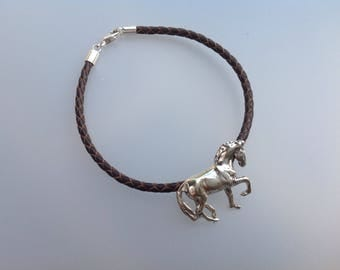 Dressage horse and leather cord bracelet STERLING SILVER  Equestrian jewelry