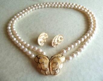 KJL Pearl Necklace Set with Butterflies - S1891