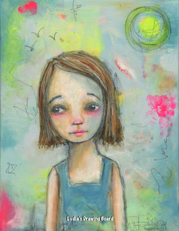Girl Art, Girls Room Decor, Girls Room Art, Girls Room Wall Art, Whimsical Art, Mixed Media Print, Girl Art Print, Girl Artwork, Girl Gifts