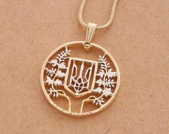 "Ukrainian Pendant and Necklace, Ukrainian 2000,000 Karovants coin Hand Cut, 14 Karat Gold and Rhodium plated, 7/8"" in Diameter, ( # 600B )"