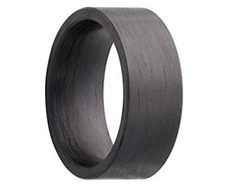 carbon fiber ring pure solid carbon fiber wedding band flat 8mm - Carbon Fiber Wedding Rings