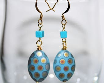 Earrings * turquoise pattern Peacock pearls *.