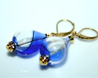Earrings * beads Venetian glass blown blue and gold *.