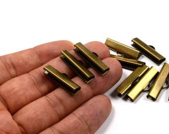 100 Pcs. Antique Brass 6x25 mm Ribbon Crimp and Finished Connectors