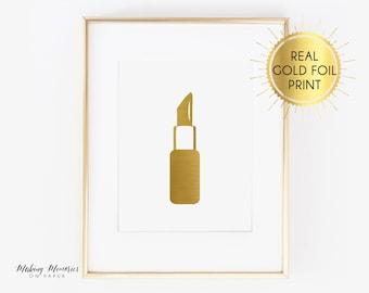 Lipstick Real foil print, Lipstick Print, Lips Print, Makeup, Gold foil Lipstick, gold foil make up, rose gold,   gold, gold foil,