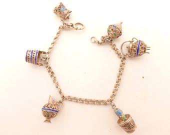 Etruscan Filigree Cloisonne Italian Charm Bracelet 800 Silver