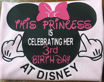 princess birthday , baby girl birthday , celebration at Disney , Minnie Mouse party, first time at Disney , matching shirts, gift, girls