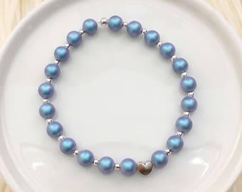 Mermaid Heart Bracelet - Silver Hardware