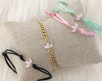 Rose Gold Lotus Bracelet - Chain or Cords