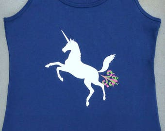 Unicorn - Hilarious Magical Farting Unicorn Ladies Navy Blue Graphic Tank Top // Funny Shirt // Edgy Womens Tee // Fantasy