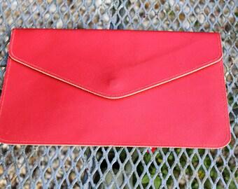 1960s - 1970s Vintage Red Leather Flat Case - Bag