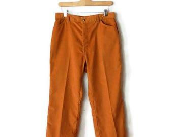 Vintage 1970's LEVI'S for Me Orange Corduroy Wide Leg Pants/W30*