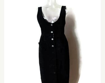 ON SALE Vintage Black Suede Button down Sleeveless Long Dress from 90's/minimal*
