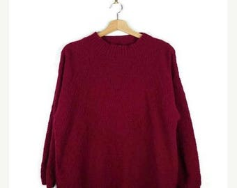 WINTER SALE 20% OFF Vintage Burgundy Acrylic Sweater from 80's*