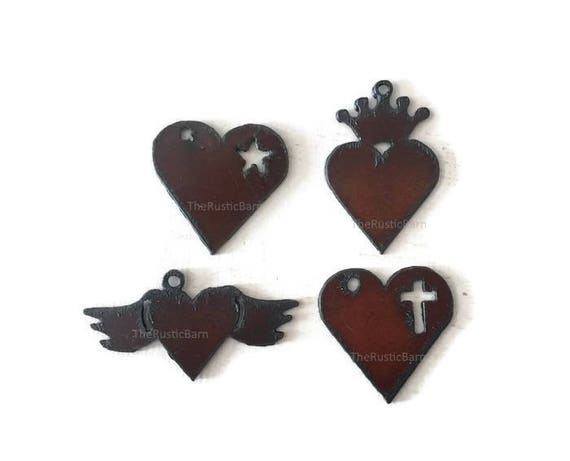 Rustic HEARTS with cross star wings or crown Pendant Charm Cutouts (any 2) made of Rustic Rusty Rusted Recycled Metal