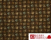 Reserve Listing for SHELIA for 2 Yards of Brown and Tan Fabric, Penny Rose by Becky Taunton for Newcastle Fabrics, Quilt or Craft Fabric.
