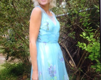Vintage 1950s sheer rouche-waisted hand painted floral powder blue dress small-med