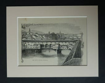 1880s Antique Ponte Vecchio Print, Old Florence Picture, Available Framed, Italy Art, Arno River Illustration, Italian Medieval Architecture