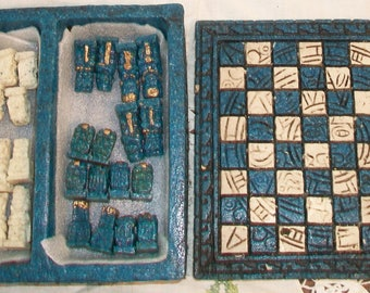 Blue Aztec Mayan Calendar Chess Set Table Game Mesoamerican Mexican Home Decor
