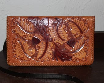 Vintage 1970's Hand Tooled Leather Checkbook Cover / Wallet
