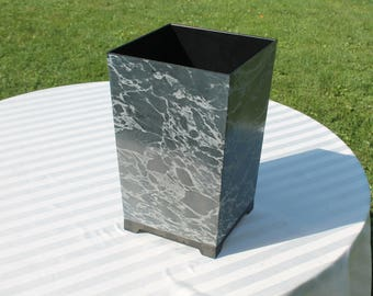 Vintage Grey Marbelized Waste Basket / Trash Can /Container - Made in USA