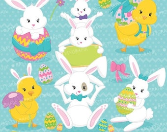 80% OFF SALE easter friends, easter bunny clipart commercial use, vector graphics, digital clip art, digital images - CL642