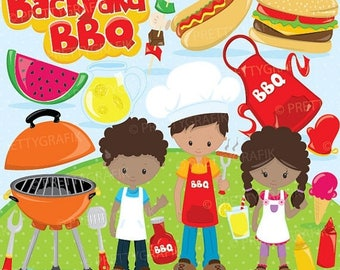 80% OFF SALE Backyard BBQ clipart for scrapbooking, Bbq kids clipart commercial use, vector graphics, digital clip art, images, Cl892