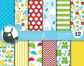 80% OFF SALE April Showers digital paper, duck and frog commercial use, scrapbook papers, background  - PS706