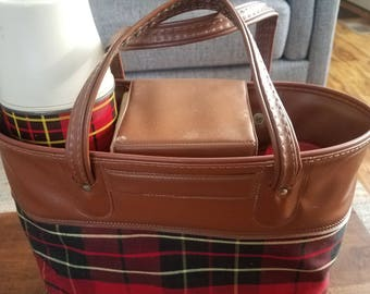 Vintage Plaid Picnic Lunch Thermos Set Lunch Box
