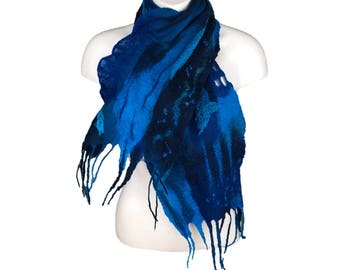 Felted merino wool blue scarf using a variety of felting techniques