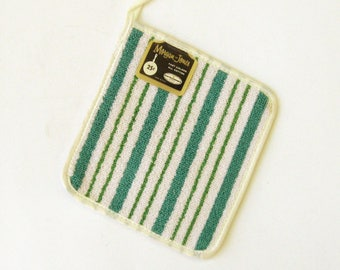 Unused Vintage Potholder in Aqua and Green Stripes with original label, New old stock