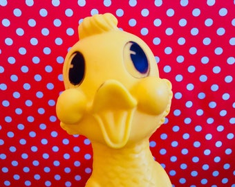 Vintage Dreamland Creations Rubber Duck Squeak Squeaky Toy Duckling Chick Big Eyed Duck