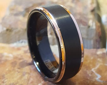 8mm Tungsten Carbide Black with Rose Gold IP Edges Comfort Fit Personalized Mens & Womens Wedding Band Ring Jewelry ( FREE ENGRAVING ) AZ163