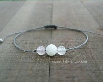 moonstone and rose quartz string bracelet healing bracelet minimalist jewelry chakra bracelet yoga jewelry energy bracelet