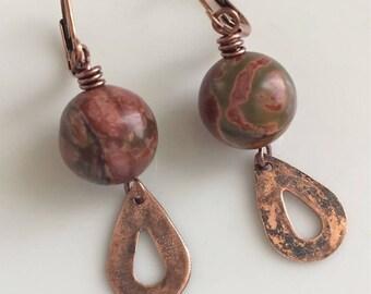 Russet and Green Jasper Earrings  Copper Leverbacks