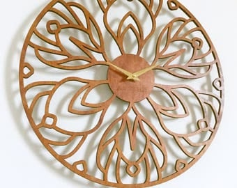 "18""  Orchid Wall Clock. Large, Laser cut, wood Wall art, Art Nouveau, Modern"
