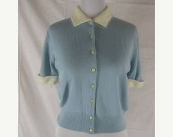On sale Vtg 40s 50s Blue Womens Vintage Angora Blend Pin Up Button Down Sweater