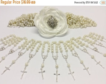 10%off sale 25 pcs Pearl Mini Rosaries, First communion favors Recuerditos Bautizo 25pz/ Mini Pearl Rosary Baptism Favors, Decade Rosaries