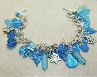 Vintage style blue and silver charm bracelet stars