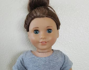 Grey knit crop top with White Lace Trim for 18 inch dolls by The Glam Doll